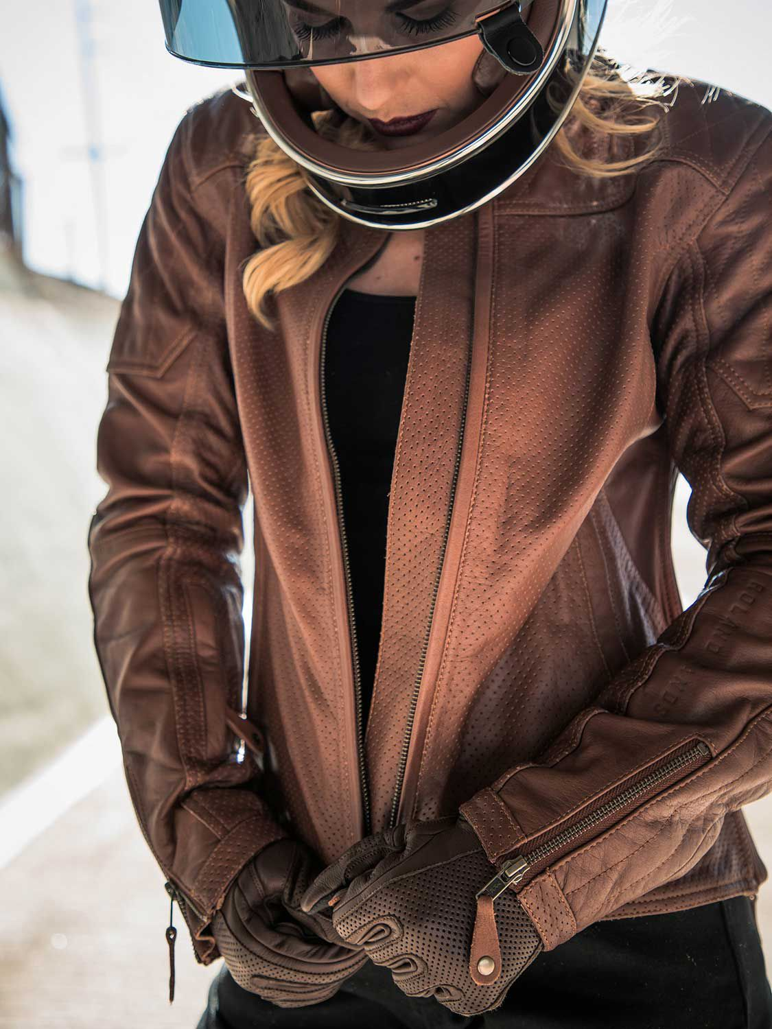 Stylish substance from the warm-weather Trinity perf jacket, which sports supple buffalo leather, Knox armor, and quilted details.