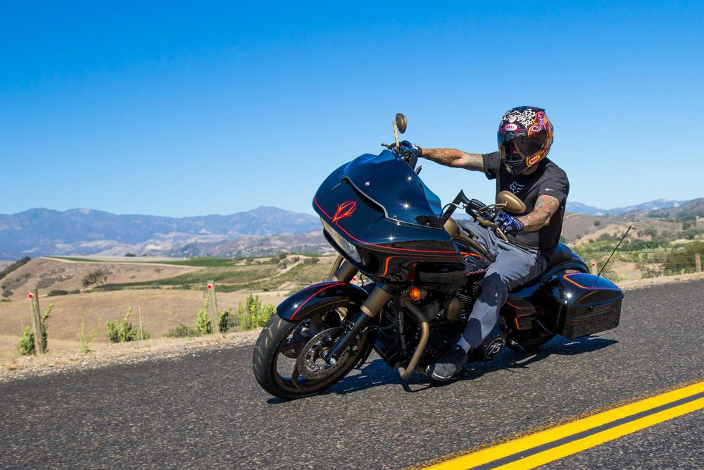Another perk of attending Sturgis is riding with celebrities like Freestyle Motorcross Superstar Carey Hart.