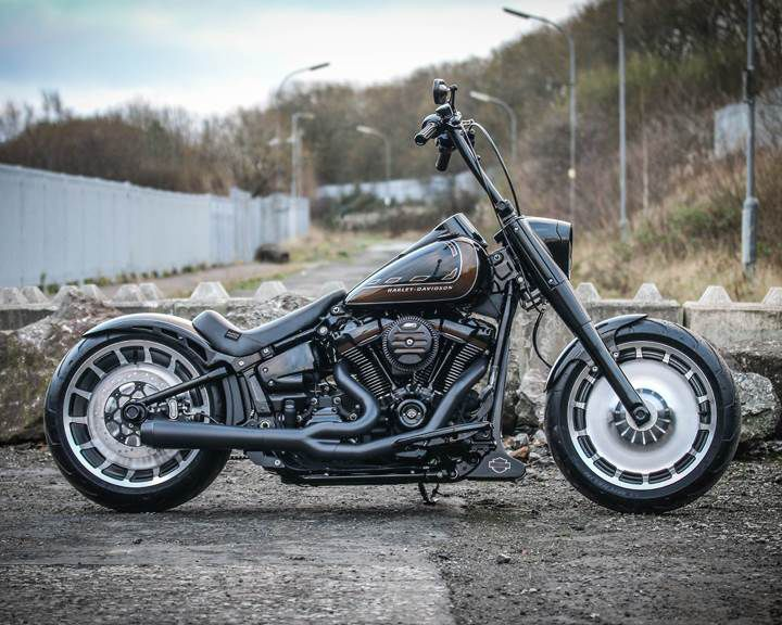"""With a third-place finish in the UK region, West Coast Harley-Davidson's Fat Boy-based """"Brazen"""" made a good showing in the Chop category."""