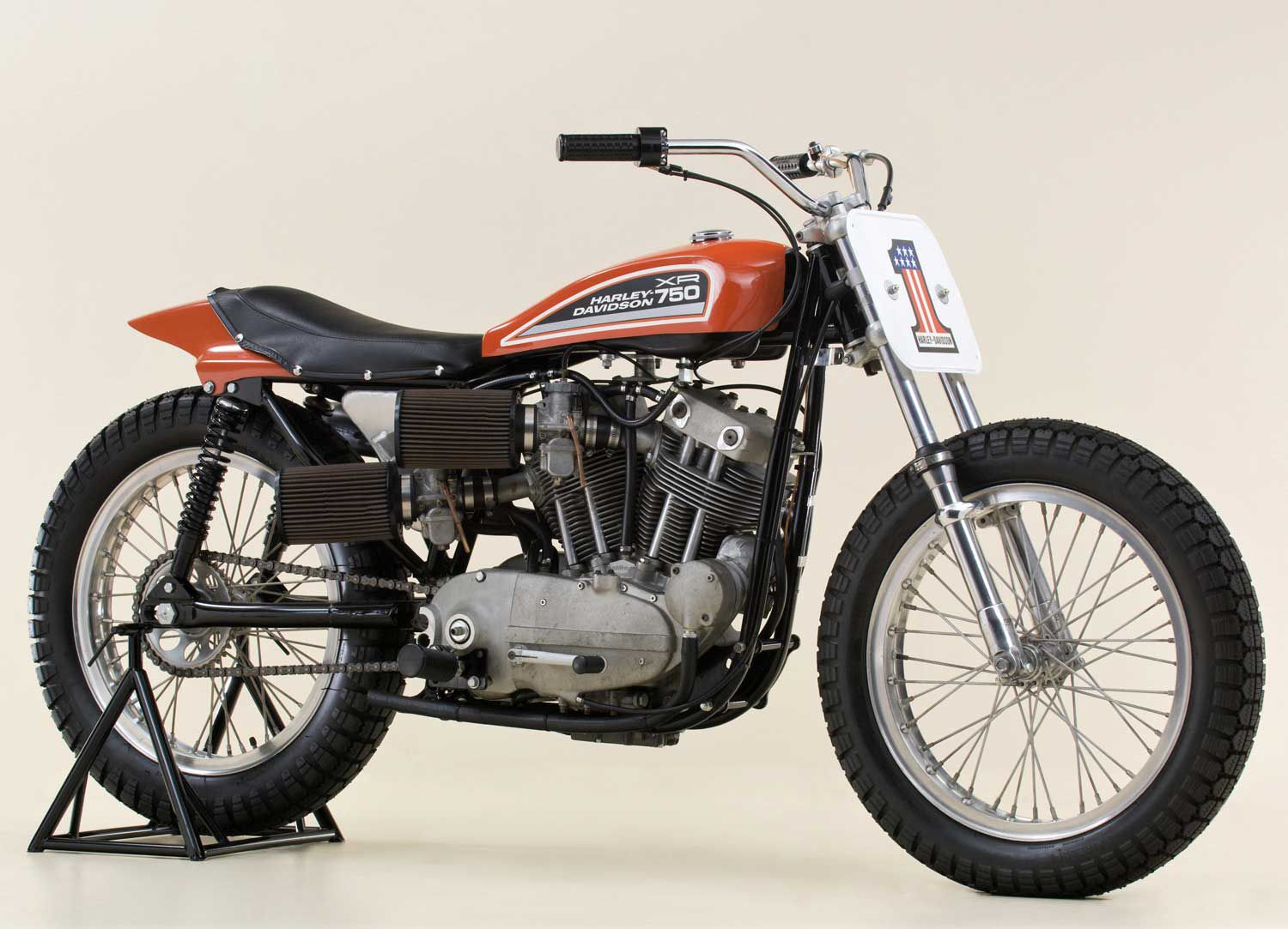 The XR750 was Sportster-based, but heavily modified to better compete against foreign marques' OHV-engined racers of the time. This bike is circa 1975.