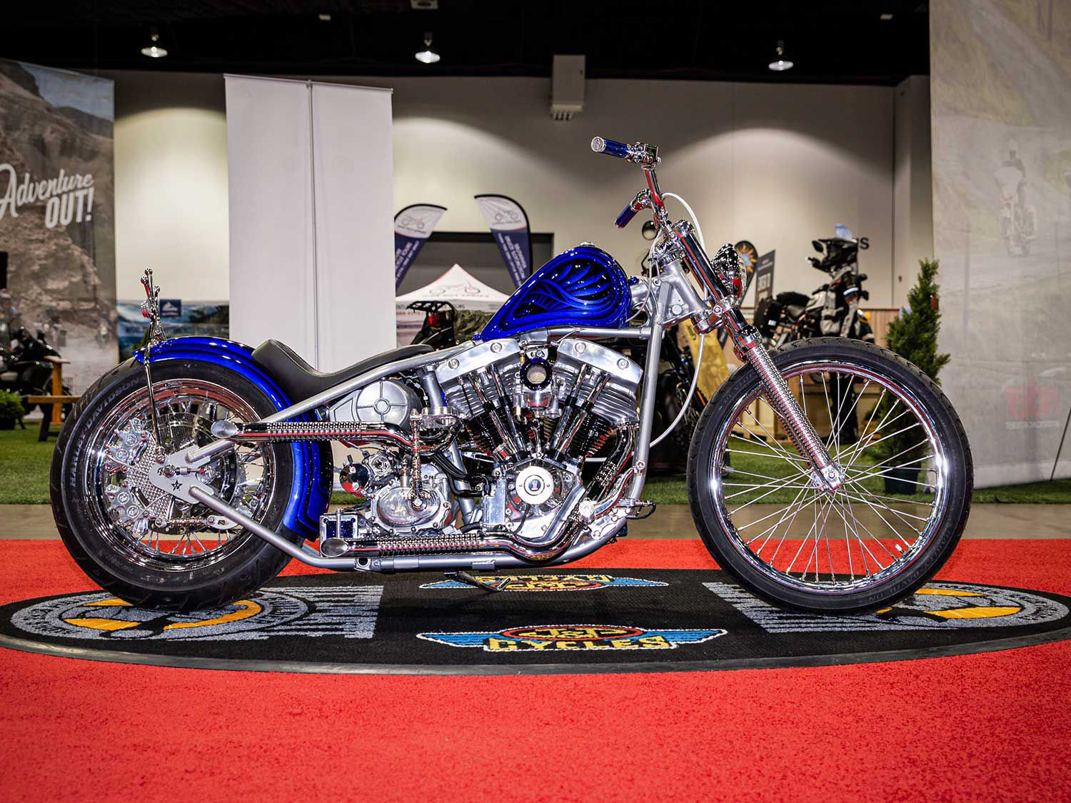Paper Street Customs' Ryan Gore got runner-up in the Freestyle category with a 1978 Harley-Davidson Shovelhead capped by a handmade tank, stainless sissy bar, stained glass battery box, and suede seat by Curt Green on a hardtail frame (as mentioned before, Jordan Dickinson won first in the category).