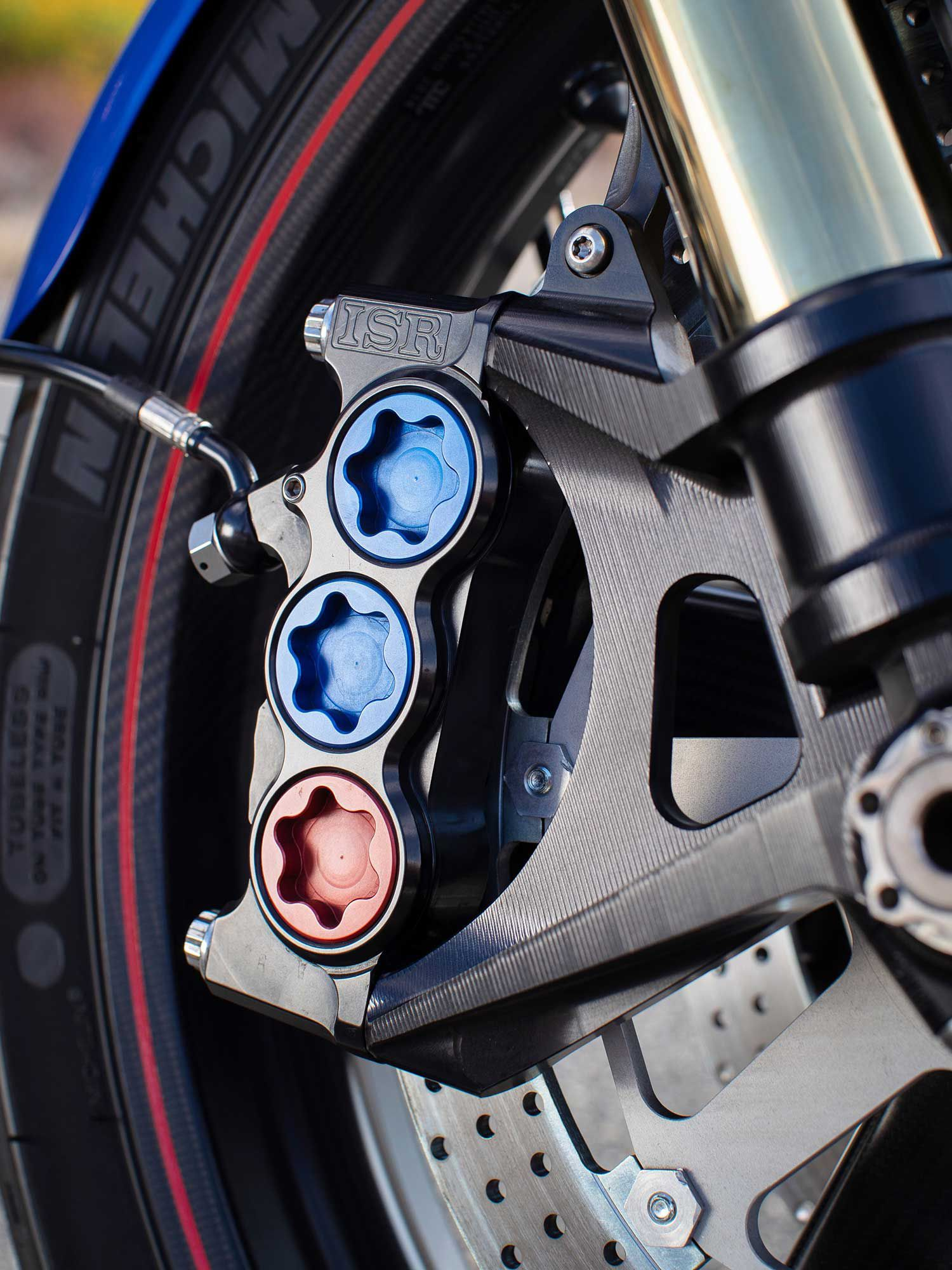 The ISR six-piston front brake calipers bring an increased piston diameter for more stopping power. The 48mm Öhlins fork is fully adjustable too.