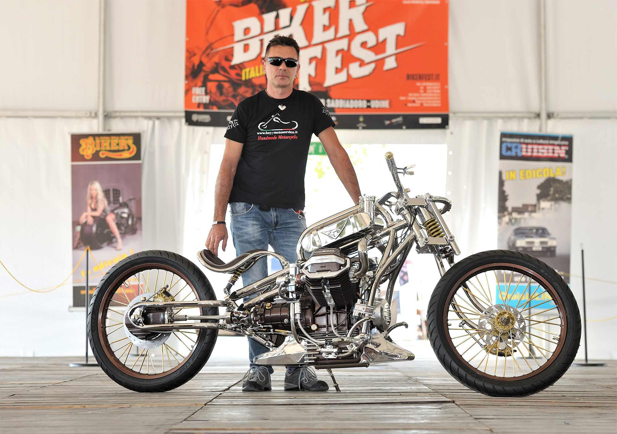 This Moto Guzzi 850-T5 by Bepy Moto Service won its class for the AMD show at Biker Fest 2020.