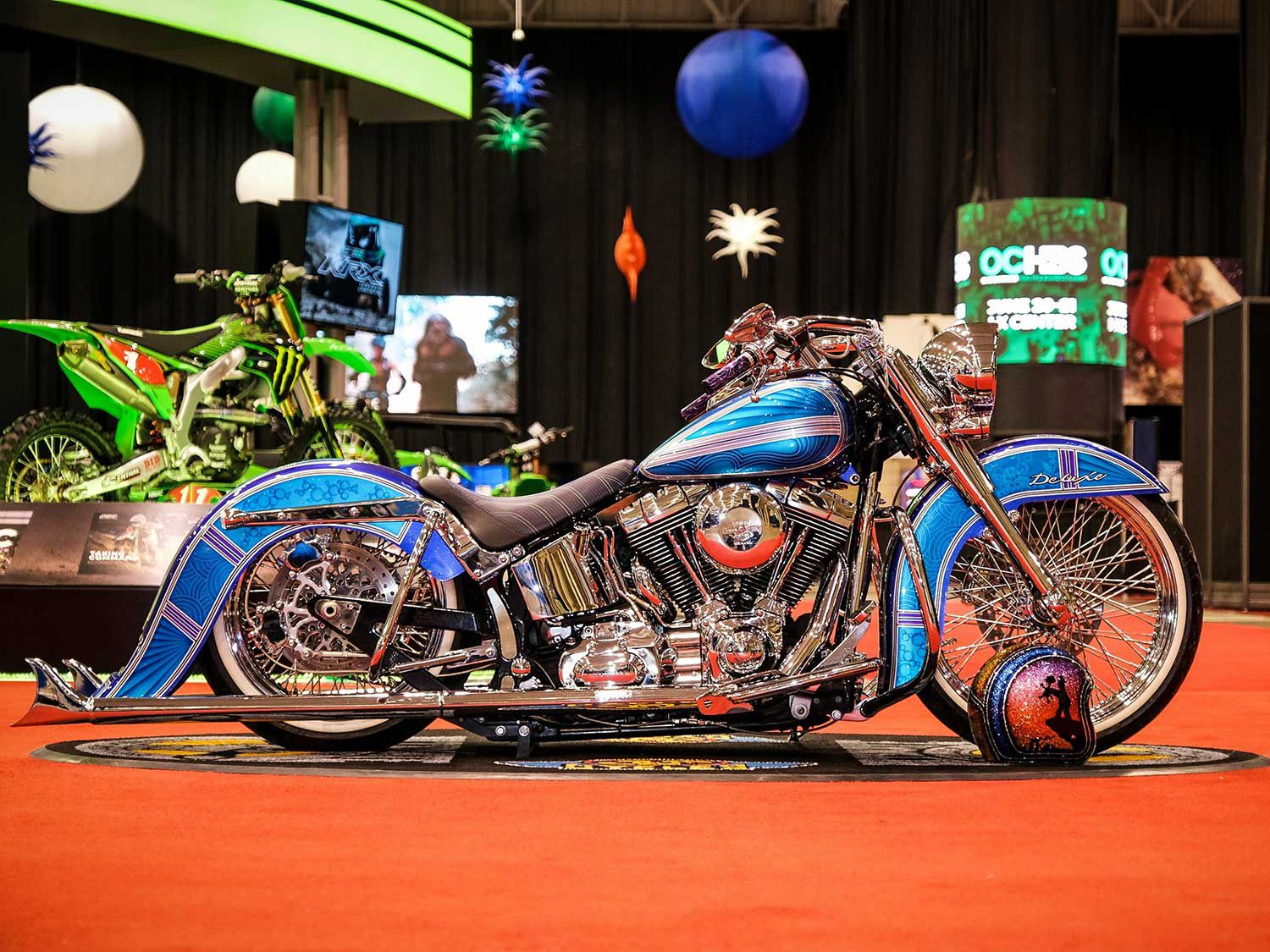 The runner-up was Brad Ritondaro's 2007 Harley-Davidson Softail Deluxe, painted by FlameThrower Customs. Check out those stretched fenders, beach bars, and air ride.