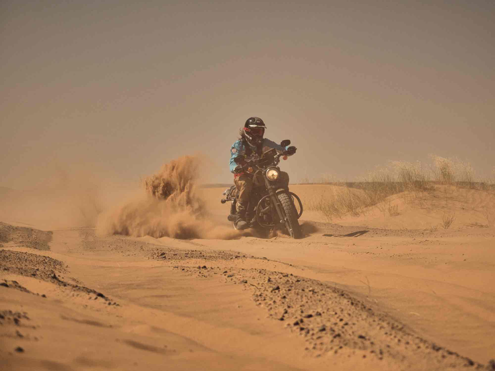 """Experiencing the first of the """"fesh-fesh"""" river silt. Notice the angle of my front tire—I can't imagine this ended well."""