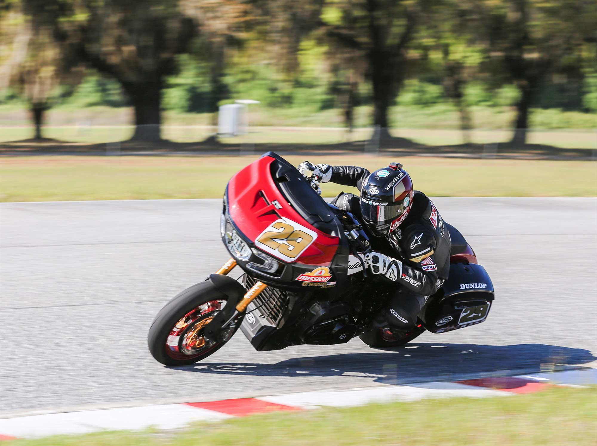Tyler O'Hara finished second in the race as well as in the overall series points, mounted on an S&S/Indian Motorcycle Challenger.