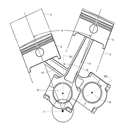 ferrari files patent for v-twin motorcycle engine