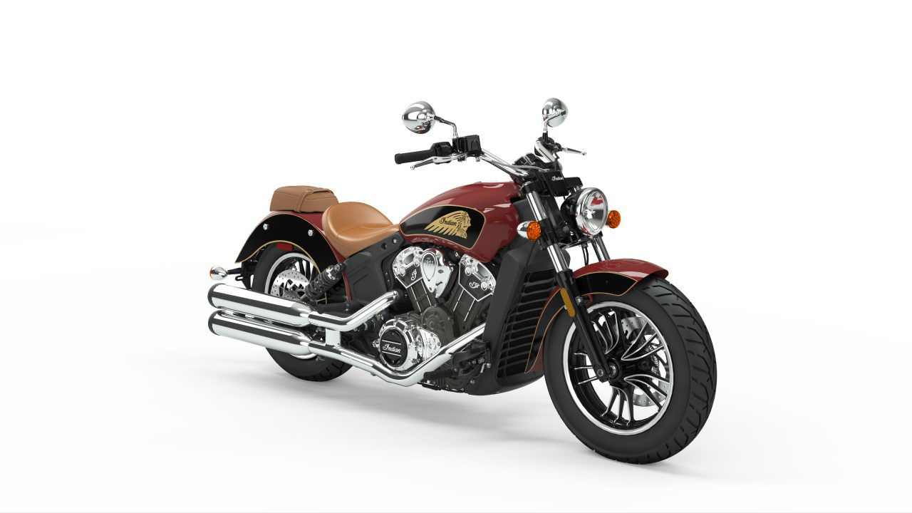 Indian Scout in Indian Motorcycle Red/Thunder Black.