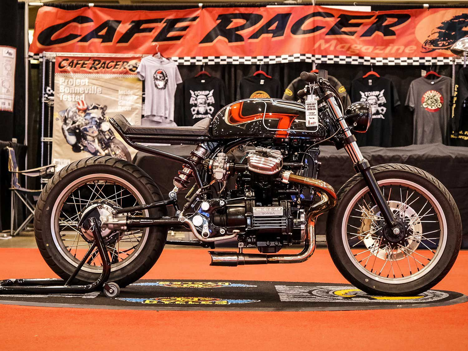 Winning the Custom Classic top prize at the Cleveland stop of the Ultimate Builder Custom Bike Show was Phil Hudson of 6th City Cycles with this 1980 Honda CX500. The stock CX500 engine was swapped with an '83 CX650 engine for extra horsepower, and Kacey Elkins applied the slick paint.