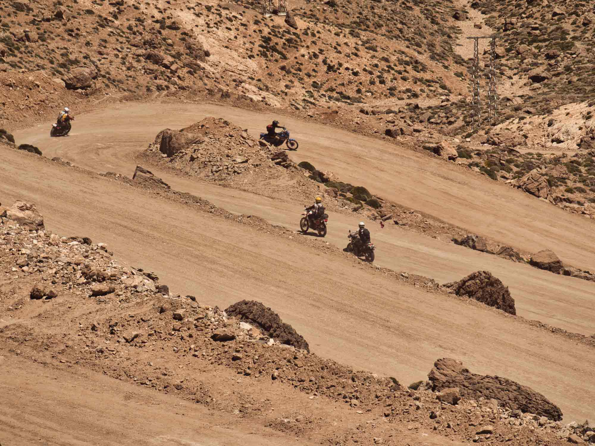 The roads in this part of Morocco are an off-road playground. Here we are descending the mountain passes into Tabant.