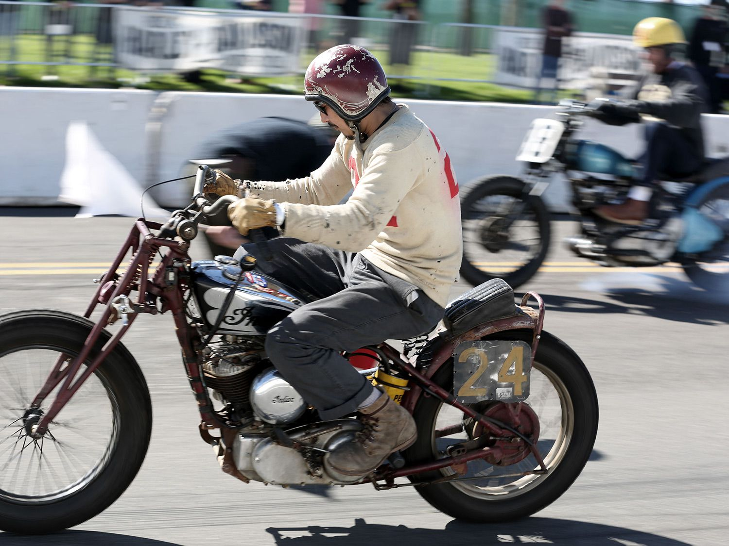 Go Takamine taking another win on the 1937 Indian Sport Scout.