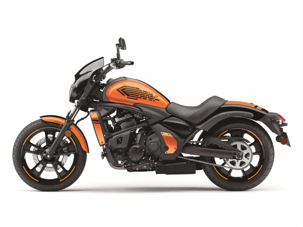 Kawasaki Vulcan S ABS Cafe in Candy Steel Furnace Orange/Metallic Spark Black.