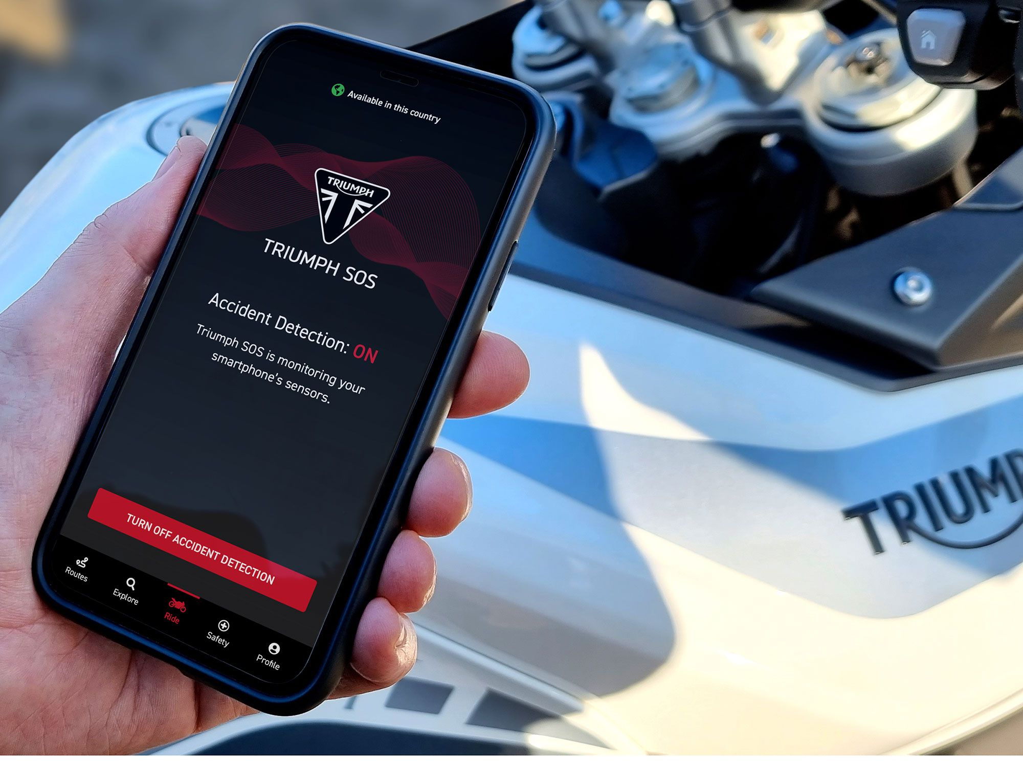 Triumph SOS uses your smartphone to detect an accident and notify emergency responders. It's out now for iOS and Android users.