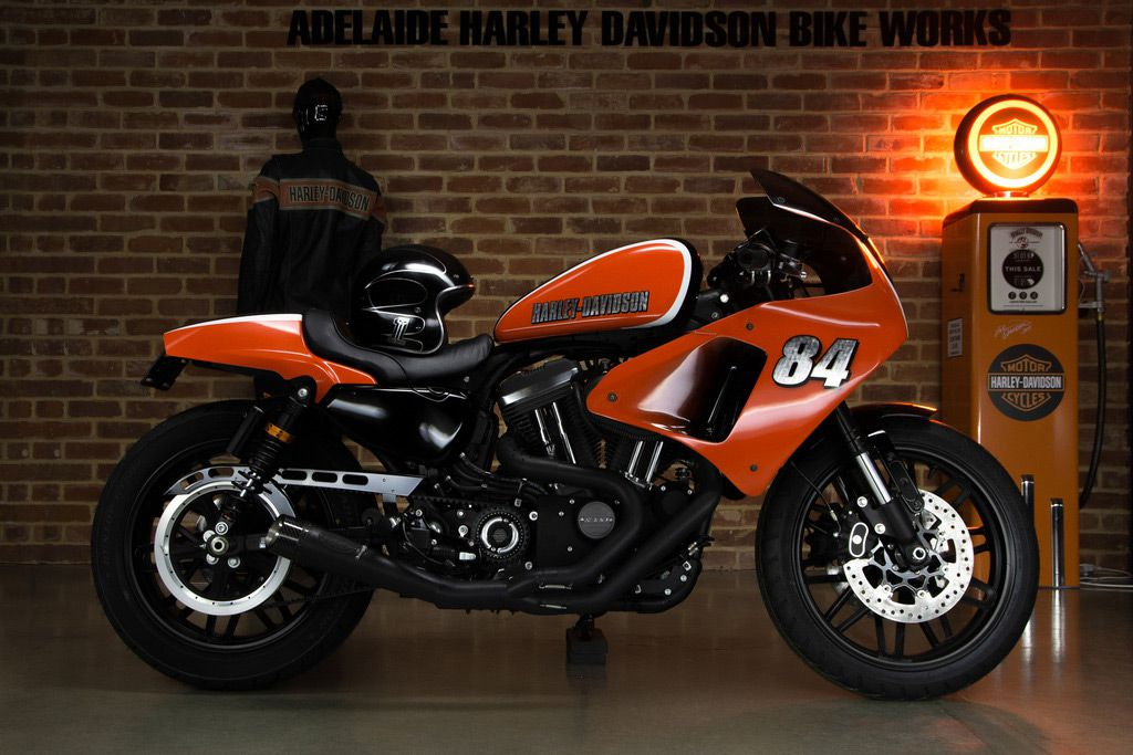 """The other grand finalist (out of three) in last year's BOTK competition was Adelaide Harley-Davidson Bike Works for its race-themed H-D Roadster called """"Back to the Track."""""""