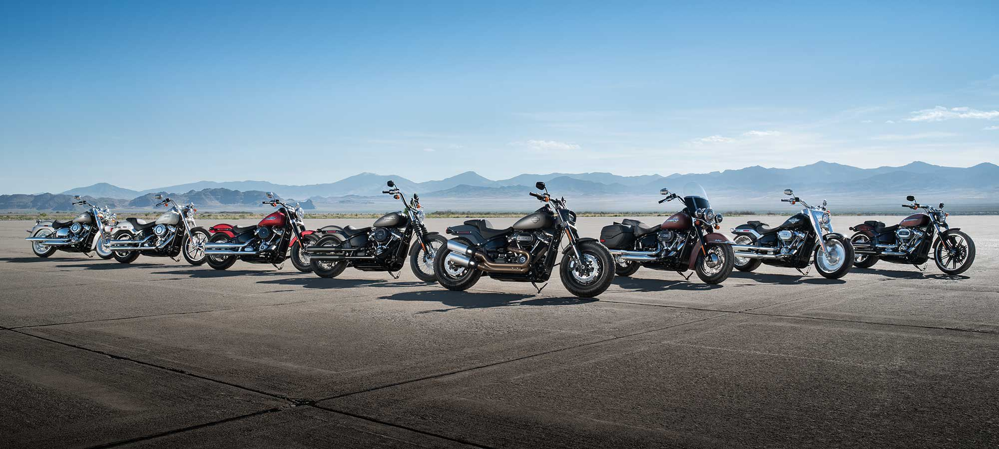 harley-davidson motorcycles lined up