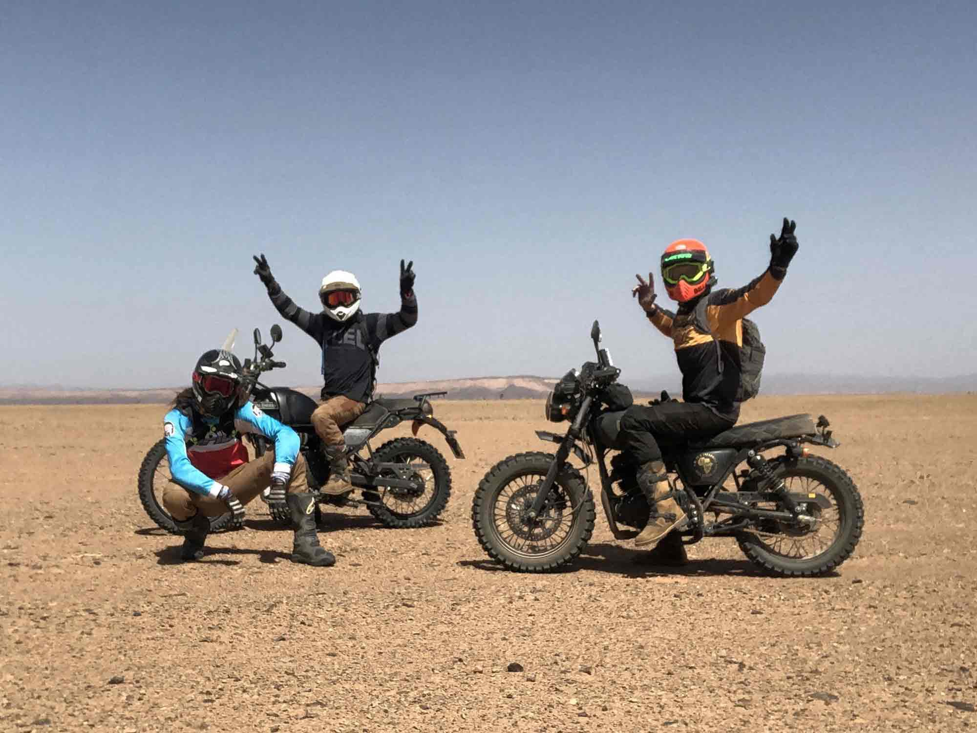 Me on the left, David in the middle on his Royal Enfield Himalayan, and Liam on the Mutt on the right.