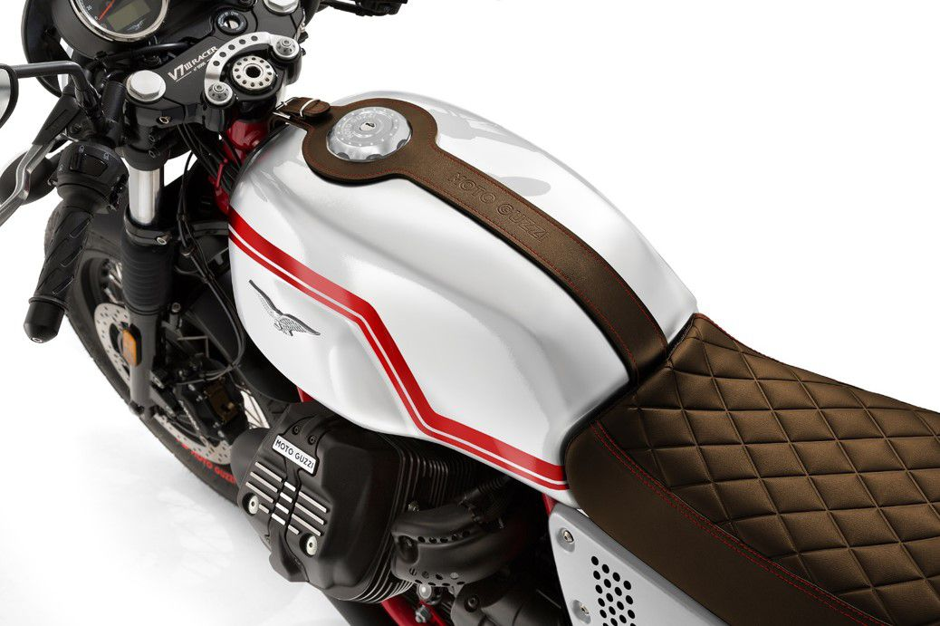 Gloss white paint, an updated quilted saddle, and leather tank trim distinguish this Guzzi from the other V7 III Racer.