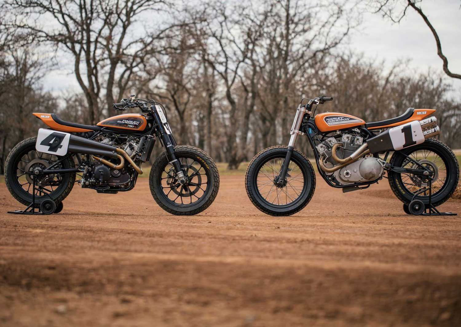 The Harley factory team now campaigns the liquid-cooled XG750R racer (at left) in the AFT series; it'll be wearing the historic Jet Fire Orange livery for the 2020 season.
