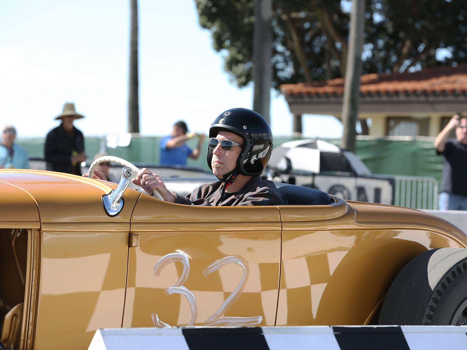 Tom Branch about to race his Roadster down the strip.