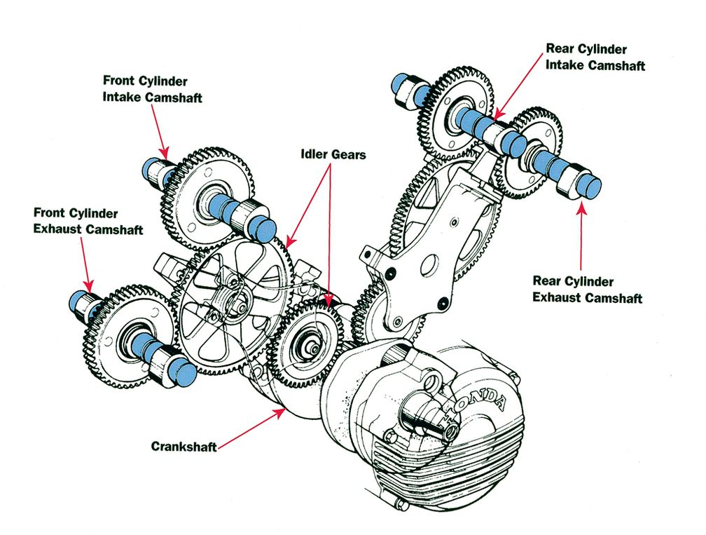crankcase, crankshaft, camshaft, four-stroke internal combustion engine