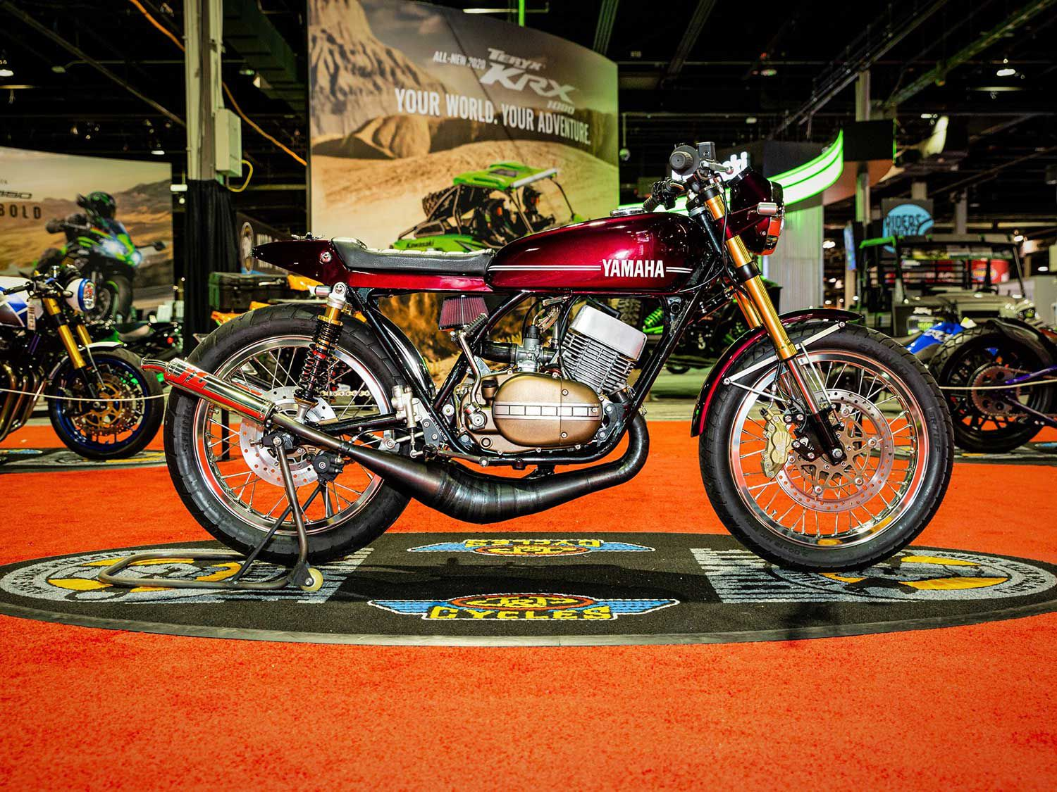 Runner-up in Custom Classic was taken by Jake Shellito who rolled out this super-clean 1974 Yamaha RD350 sporting cool touches like a handmade oil tank and tailsection, and a Yamaha R5 fuel tank.