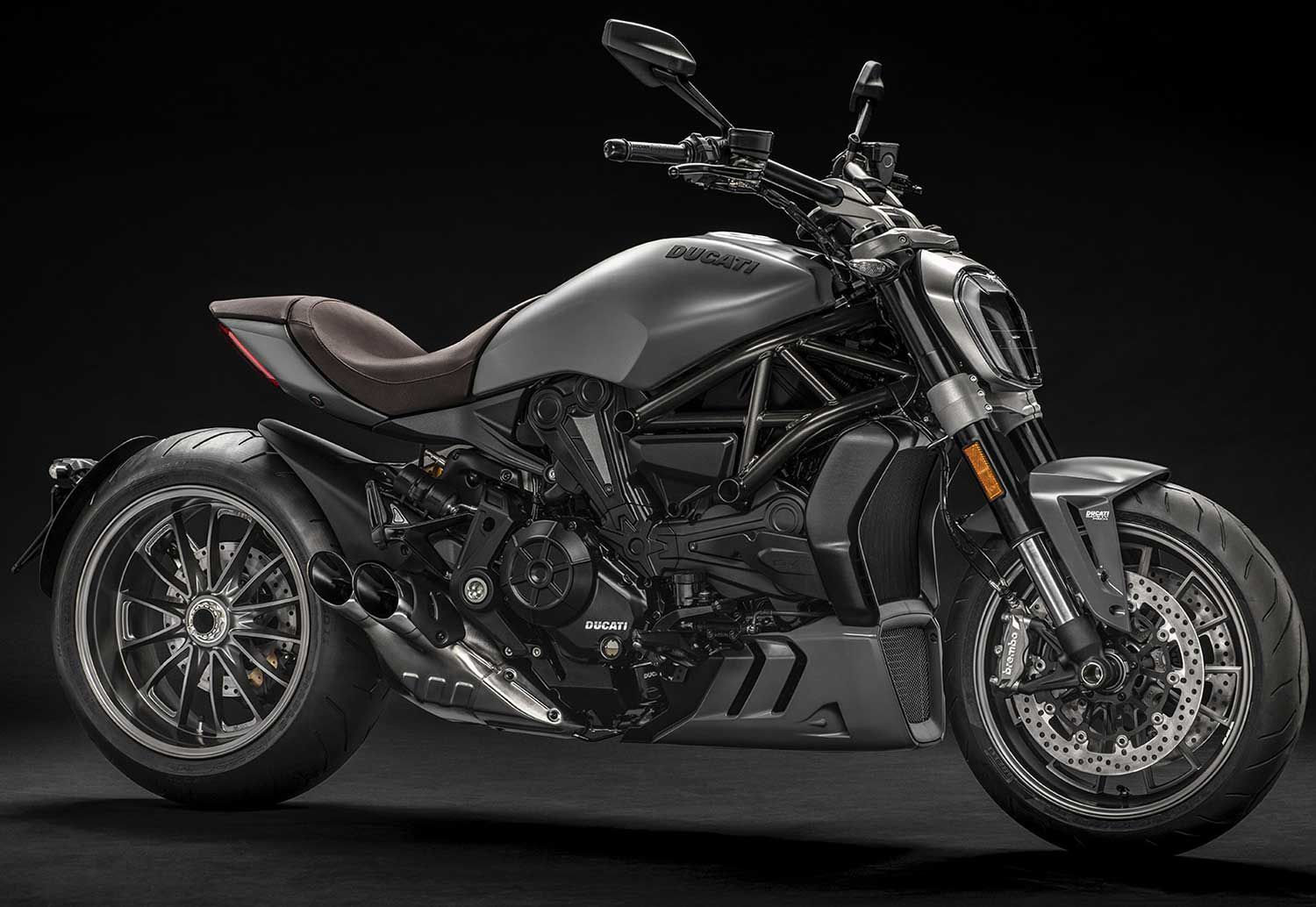 "The XDiavel is the ""more cruiser-y"" version of Ducati's fire-breathing Diavel. That means a slightly different chassis and more laid-back ergos, but same 153 hp. Shown is 2020 model."