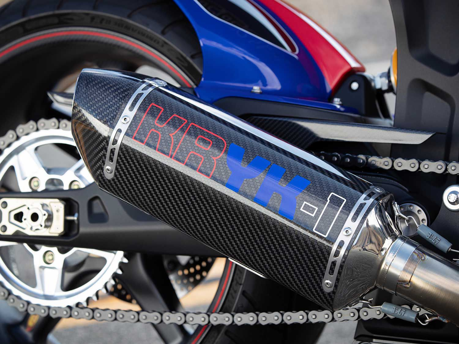Arch worked with Yoshimura to develop the carbon-fiber muffler. KRYK? That stands for Yves Klein, who patented Yves Klein International Blue, the color this bike is meant to recreate.